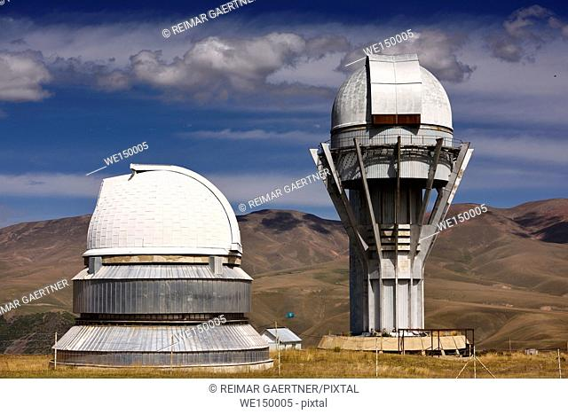 Assy astronomical observatory telescope towers on the mountain plateau of Assy Turgen Kazakhstan