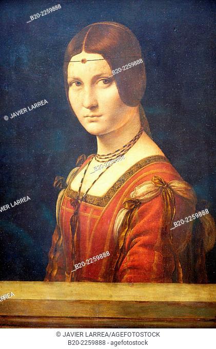 Portrait de femme, dit La Belle Ferronnière. 1495-1499. Léonard de Vinci. Louvre Museum. Paris. France