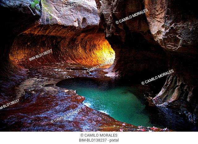 Rock formations and pool in cave, Zion National Park, Utah, United States