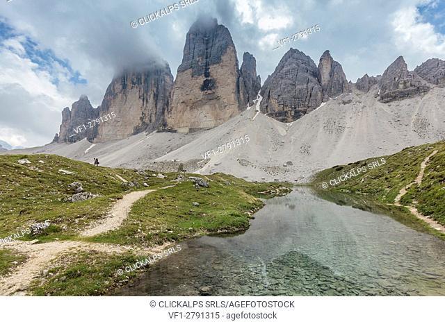 Europe, Italy, Dolomites, Belluno and Bolzano. Tre Cime di Lavaredo north face as seen from Grava Longa lakes