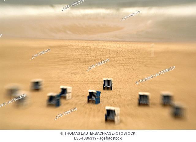 Beach chairs on the beach of Sylt, look like toys