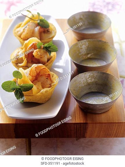 Prawn and mango tarts with lime mustard sauce