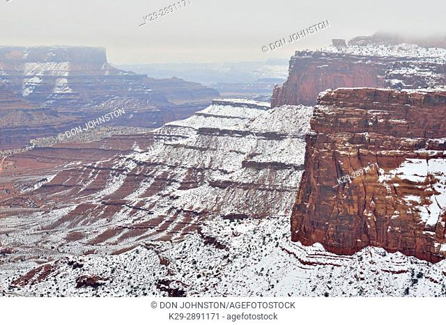 Fresh snow and fog in the canyon in winter, Canyonlands National Park, Utah, USA