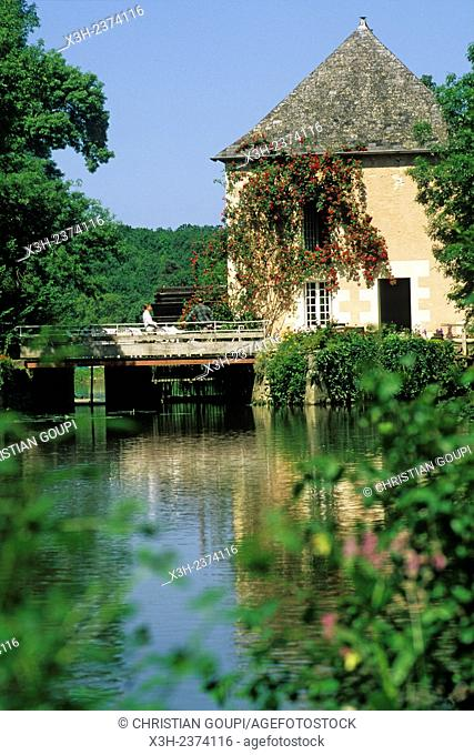 Water mill of Fleuriaux on the river Indre bank at Monts, Indre-et-Loire department, Centre region, France, Europe