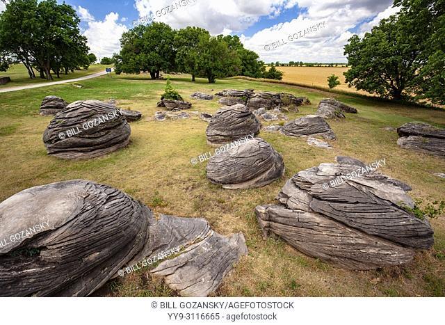 Rock City a geological wonder near Minneapolis, Kansas, USA