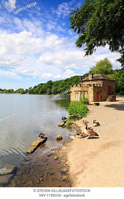Boathouse and Lake, Newmillerdam Country Park, Wakefield, West Yorkshire, England, UK