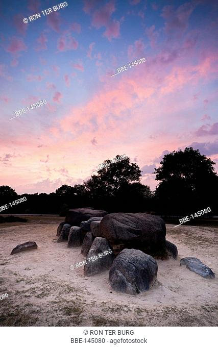 The dolmen of Havelte in the evening