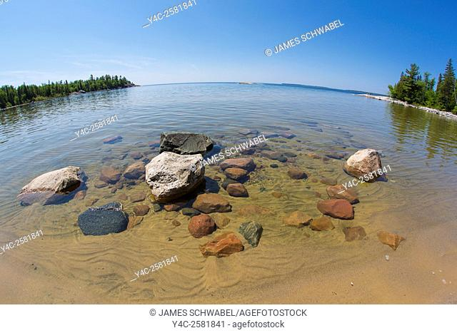 Rocky shore of Katherine Cove in Lake Superior Provincial Park on Lake Superior in Canada