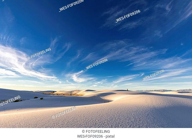 USA, New Mexico, Chihuahua Desert, White Sands National Monument, landscape with person