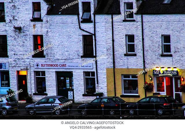 Restaurant in Portree at sundowm, Skye island, Inner Hebrides, Scotland, UK