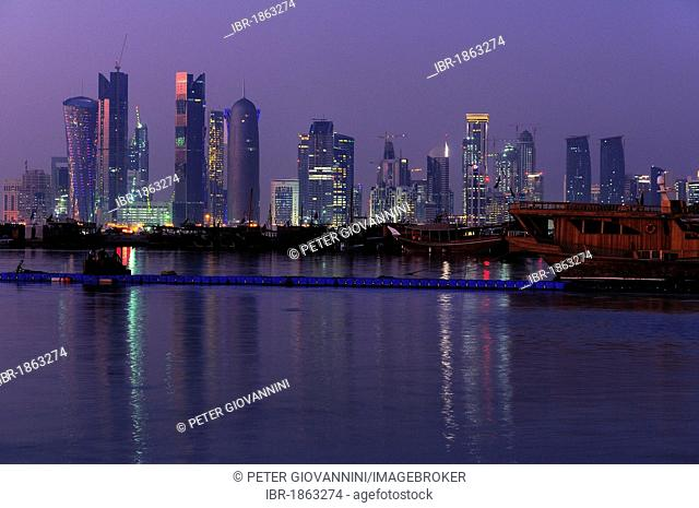 Skyline of New Town business district, Doha, Qatar, Middle East