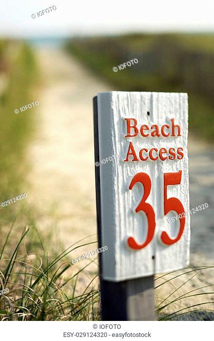 Beach access walkway and sign on Bald Head Island, North Carolina