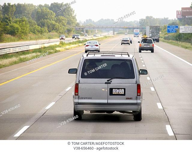 Traffic on the interstate in Michigan in the USA