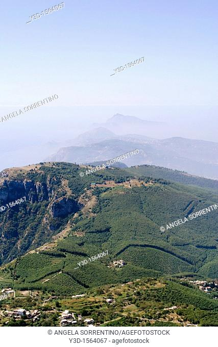 View of Punta Campanella and Sorrento peninsula, Campania, Italy