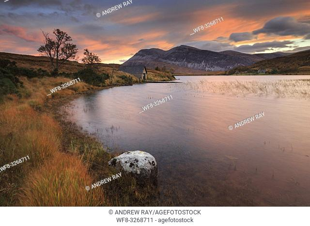 The boathouse at the southern end of Loch Stack, in the North West Highlands of Scotland, captured at sunrise in late October