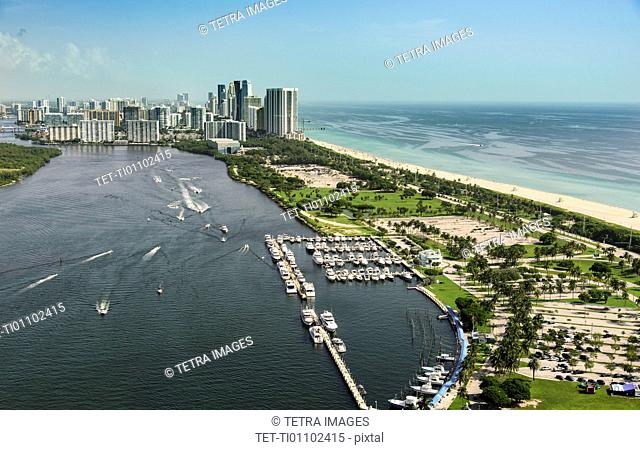 USA, Florida, Miami, Aerial view of city and sea