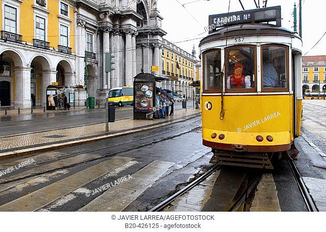 Trams at Praça do Comércio, Lisbon. Portugal