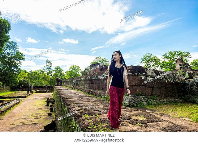 East Mebon Temple dedicated to Hindu god Shiva, built by the King Rajendravarman VII in the tenth century, from Angkor; Siem Reap, Cambodia