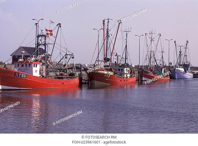 Denmark, Romo, Jylland, Scandinavia, Europe, Fishing boats docked in Havneby Harbor on the North Sea on Romo Island