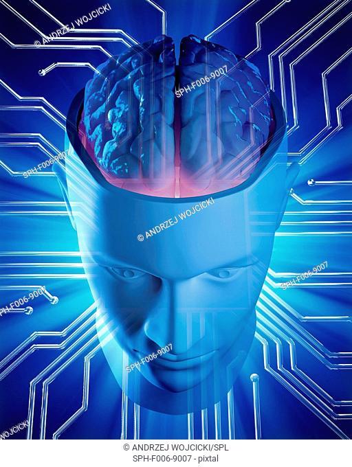 Artificial intelligence, conceptual computer artwork