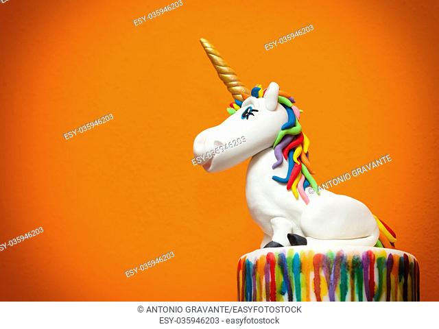 Unicorn cake topper made with in sugar paste or Fondant
