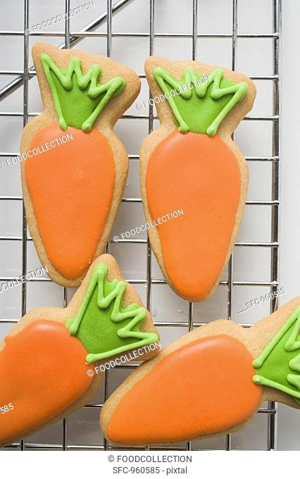 Easter biscuits carrots on cake rack