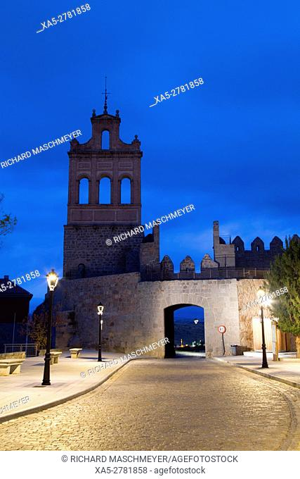 Puerta del Carmen, morning, Avila, UNESCO World Heritage Site, Spain