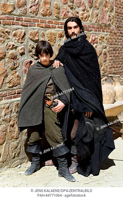 (dpa-EXCLUSIVE) Spanish actors Marcos Ruiz (L) as Inigo de Balboa and Aitor Luna as Diego Alatriste poses at the set of TV series 'Alatriste' in Budapest