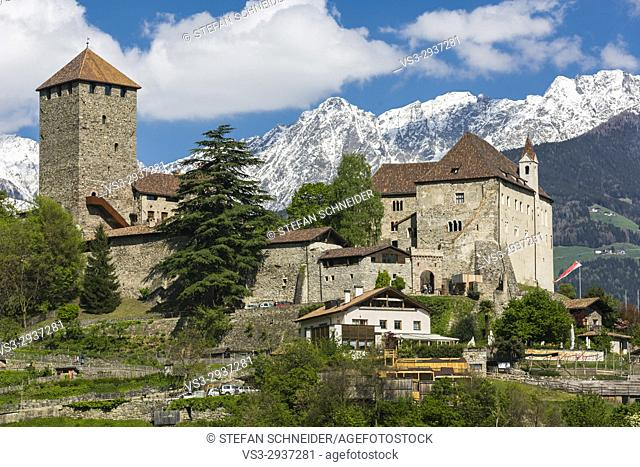 Castle Tirol and mountain scenery in the background, South-Tirol, Italy