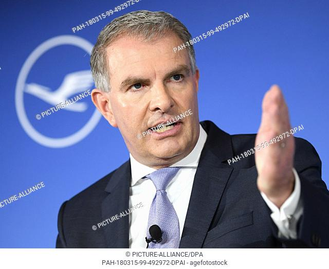 15 March 2018, Germany, Frankfurt am Main: Carsten Spohr, CEO of Deutsche Lufthansa AG, speaking during the company's financial statement press conference in...