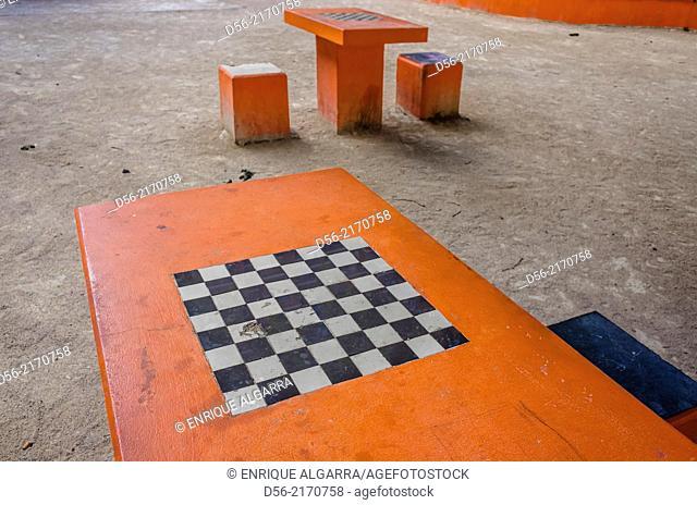 Chess table in a public garden, Valencia, Spain