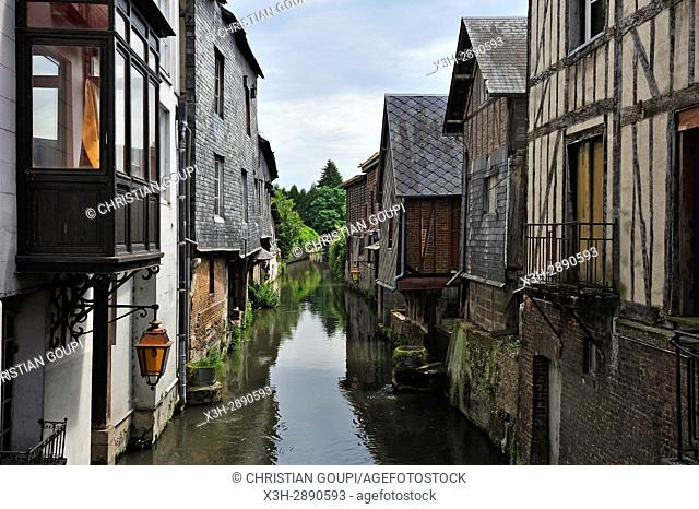La Risle channeled river in the center of Pont-Audemer, Eure department, Normandy region, France, Europe