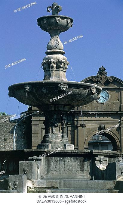Fountain, Piazza della Rocca, by Jacopo da Vignola (Vignola, 1507-Rome, 1573), Rome, Lazio, Italy