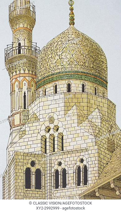 Arabic architecture. Detail of dome and minaret of the tomb of the Caliph, City of the Dead, Cairo, Egypt. From Enciclopedia Ilustrada Segui, published 1908
