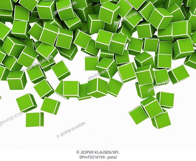 Green cubes, illustration
