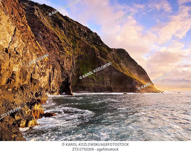 Portugal, Madeira, View of the cliffs near the Ponta de Sao Jorge.
