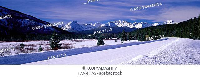 Mountain Road in Banff National Park, Canadian Rockies, Alberta, Canada