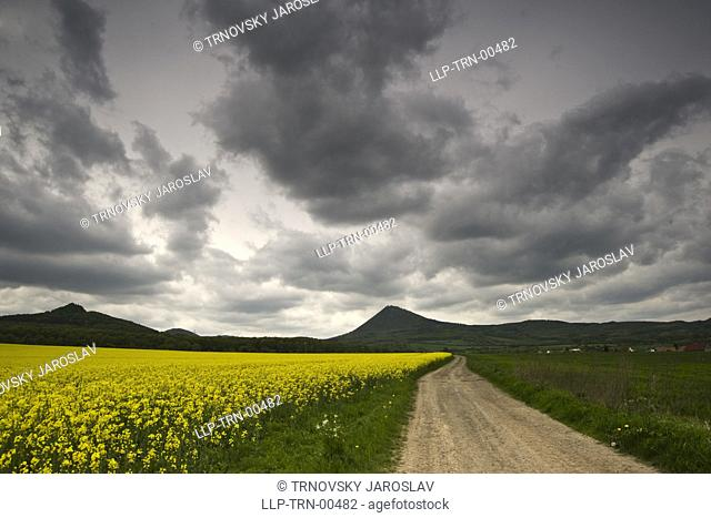 landscape before storm with road