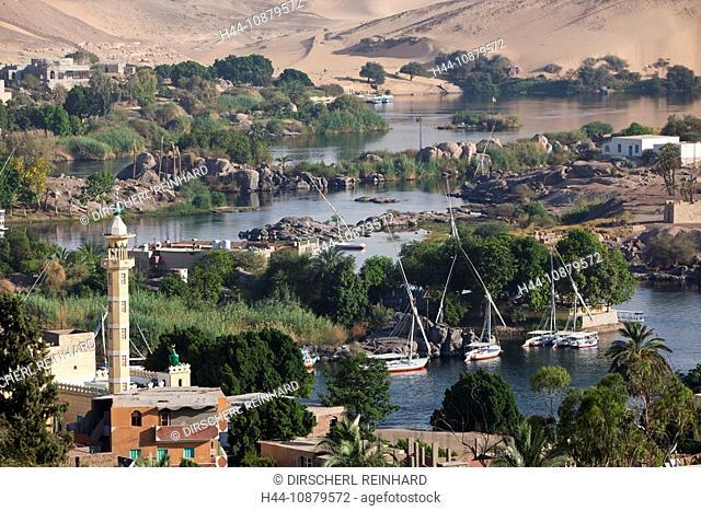 View on Nile River Landscape of Aswan, Aswan, Egypt