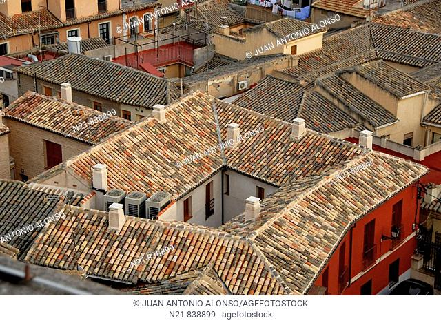 Roofs seen from the top of San Ildefonso Church, Toledo, Spain