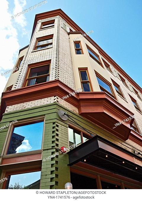 The Crystal hotel in this narrow building is a Portland, Oregon landmark The building was constructed in 1911 and is on the National Register of Historic Places