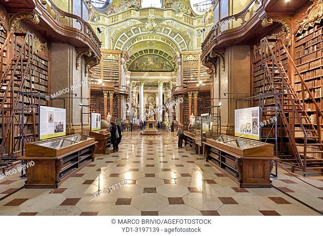 The Prunksaal, center of the old imperial library inside the Austrian National Library. Vienna Austria