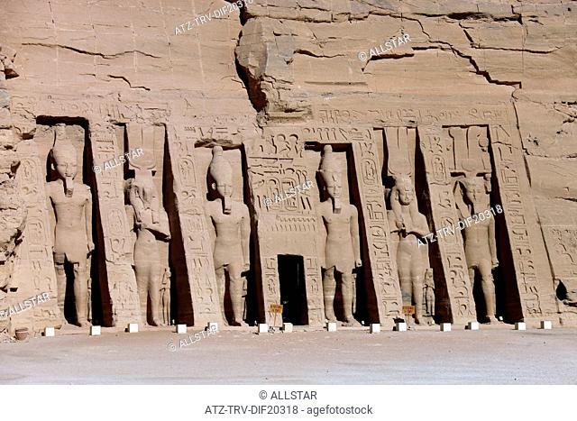 CARVED STATUES AT SMALL TEMPLE OF HATHOR & NEFERTARI; ABU SIMBEL, NUBIA, EGYPT; 11/01/2013
