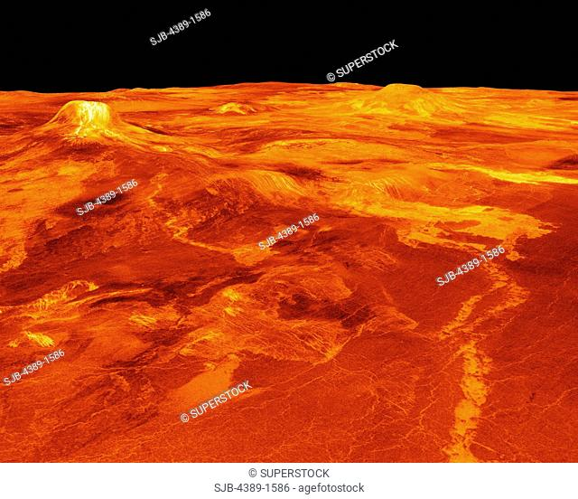 Three-Dimensional Perspective View of Eistla Regio on Venus by Magellan Digitally Generated