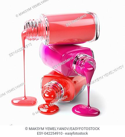 Nail polish of a different colorsin stack spilled isolated on white background. 3d illustration