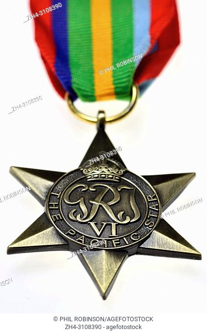 The Pacific Star - Second World War medal instituted May 1945 for subjects of the British Commonwealth who served in the Second World War