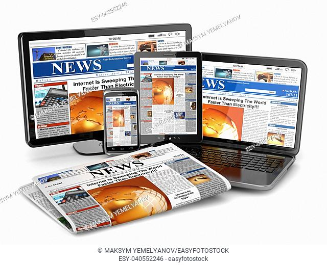 News. Media concept. Laptop, tablet pc, phone and newspaper. 3d