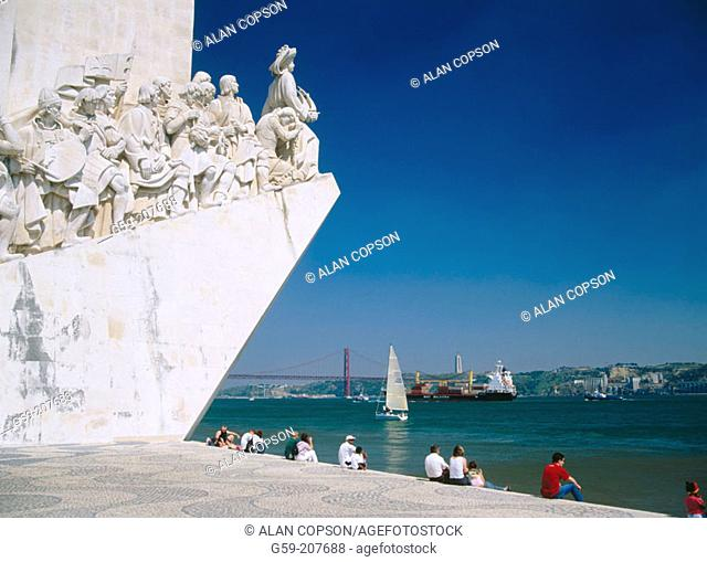 Monument to the Discoveries and river Tajo. Lisbon. Portugal