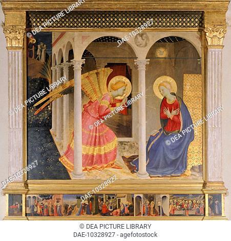 The Annunciation, 1433-1436, by Giovanni da Fiesole, known as Fra Angelico (1400-ca 1455), tempera on panel, 175x180 cm.  Cortona