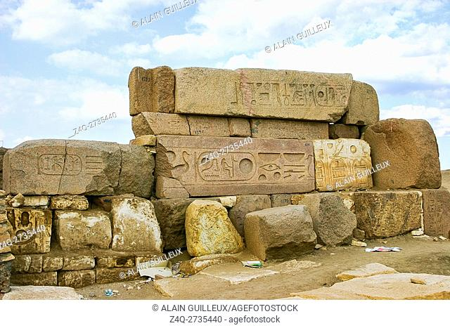 Egypt, Nile Delta, Tanis, the Western gate, called door of Sheshanq III, done by assembling several stones, reused